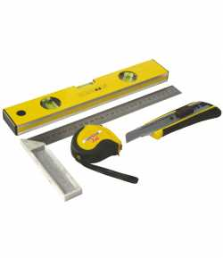 Level, measuring tape, try square and cutter set LT18352