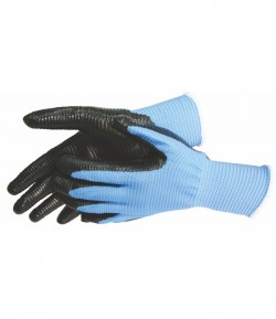 Blue nylon - black nitrile working gloves, 9 inch LT74157