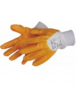 Yellow nitrile protecting gloves, CE LT74155