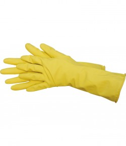 Yellow latex working gloves, size M LT74177