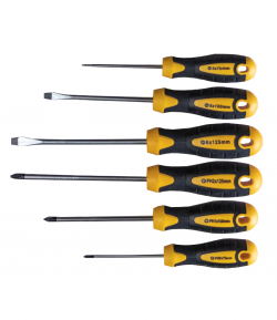 Set of 6 screwdrivers CR-V, PH0*75, PH1*100, PH2*125, 6*125, 5*100, 3*75 mm LT61446