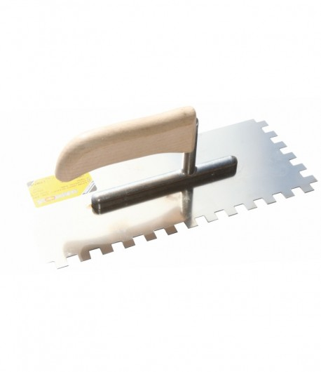 Stainless steel notched trowel with wooden handle LT06728
