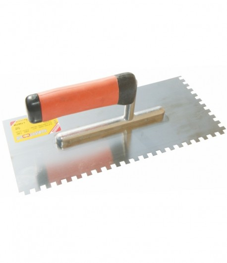 Stainless steel notched trowel with rubbery handle LT06736