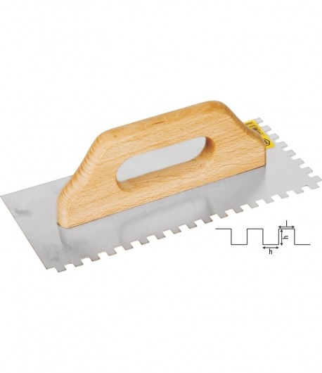 Stainless steel notched trowel with wooden handle LT06577